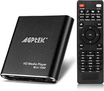 HDMI Media Player, AGPtek Black Mini 1080p Full-HD Ultra HDMI Digital Media Player for -MKV/RM- HDD USB Drives and SD Cards