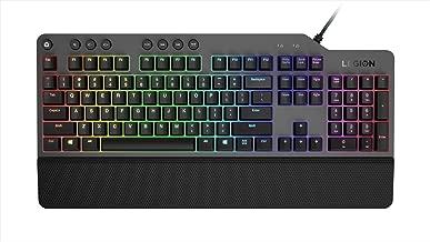 Lenovo GY40T26478 Legion K500 RGB Mechanical Gaming Keyboard, 3 Zone Full-Size Keyboard, 7 User Programmable Hot Keys; 16.8 Million Colors, 50 Million-Click Red Mechanical Keys, Detachable Palm Rest