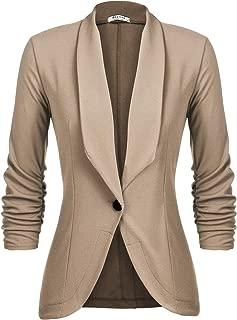 Beyove Women's 3/4 Ruched Sleeve Open Front Lightweight Work Office Blazer Jacket