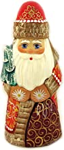 Russian Hand Painted Hand Carved Santa Claus Figurine Holding Tree 6 1/2 Inch