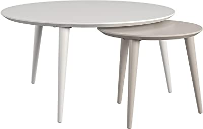 CosmoLiving Carnegie Nesting Tables, Taupe/White