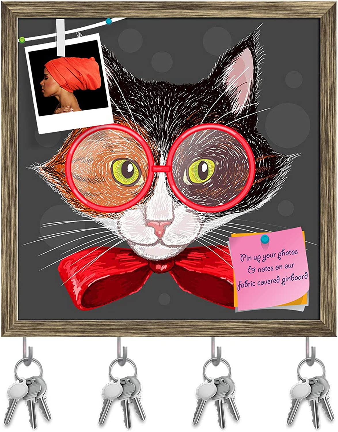Artzfolio Portrait of A Calico Cat in Red Glasses & A Bow Key Holder Hooks   Notice Pin Board   Antique golden Frame 20 X 20Inch