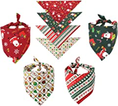 MIUOLV Christmas Dog Bandana Pet Scarf Accessories, Triangle Cotton Dog Bibs Scarf Adjustable Kerchief Cats Bandanas with Cute Patterns Holiday and Birthday Party Decorations (Group of 5) (Christmas)