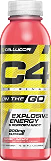 Cellucor C4 On The Go Zero Sugar Pre Workout Drink, Energy Drink + Beta Alanine, Cherry Limeade, 11.7 Fl Oz, Pack of 12