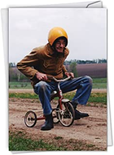 Senior Trike - Men's Happy Birthday Greeting Card with Envelope (4.63 x 6.75 Inch) - Humorous Birthday Note Card for Dad, Grandpa, Elderly - Funny Senior Citizen Bike Ride, Congratulations C6435BDG