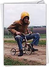 Senior Trike - Men's Happy Birthday Greeting Card with Envelope (4.63 x 6.75 Inch) - Humorous Birthday Note Card for Dad, Grandpa, Elderly - Funny Senior Citizen Bike Ride, Congratulations C6435BDG