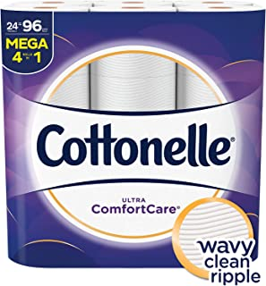Cottonelle Ultra Comfortcare Toilet Paper, Soft Bath Tissue, Septic-Safe, 24 Mega Rolls,96 Count
