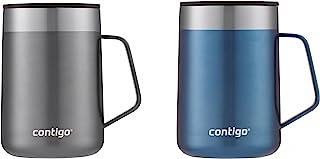 مج كونتيجو من الفولاذ المقاوم للصدأ المعزول بتفريغ الهواء مع مقبض وغطاء مقاوم للرذاذ ، 496.89 مل، أزرق وأزرق ذرة