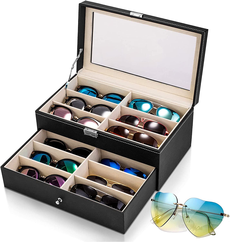 TiGilt Raleigh Mall 12 Super Special SALE held Large Compartments Sunglasses Premium PU L Organizer –