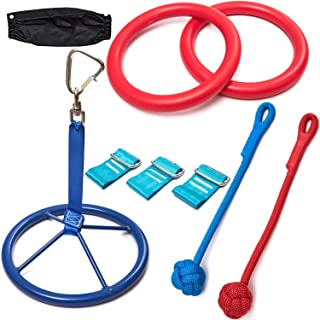 Ninja Warrior Training Equipment for Kids 50' Feet   W/ Ladder   The Perfect Outdoor Ninja Line Hanging Obstacle Course   ...
