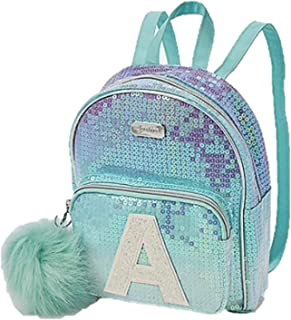Girls Ombre Sequin Initial Mini Backpack Pom Pom Blue/Green (P)