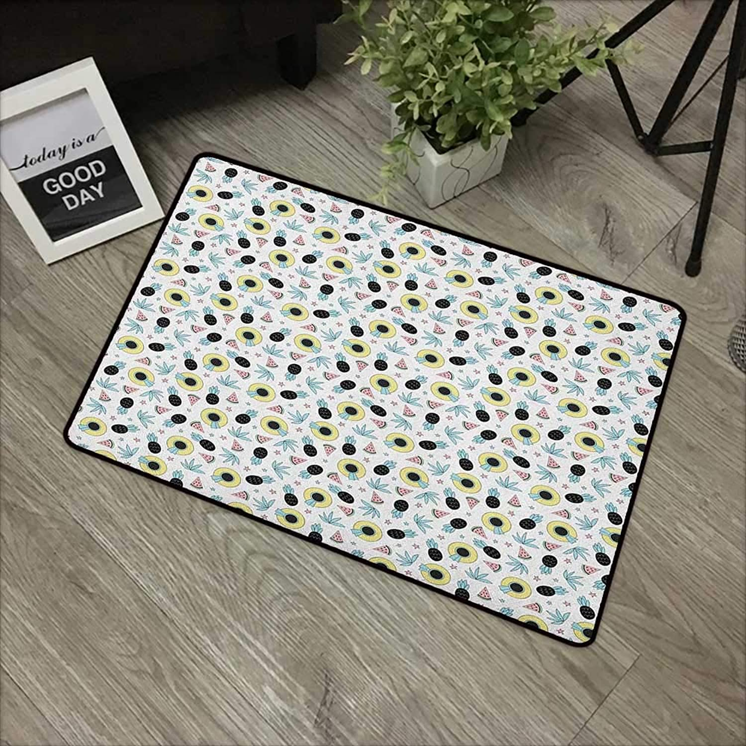 Bathroom anti-slip door mat W35 x L59 INCH Summer,Hand Drawn Style Pattern with Women`s Beach Hats Pineapples Watermelons and Stars, Multicolor Non-slip, with non-slip backing,Non-slip Door Mat Carpet