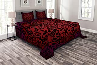 Ambesonne Red and Black Bedspread, Mandala Oriental Design Flowers and Leaves Frame Image, Decorative Quilted 3 Piece Coverlet Set with 2 Pillow Shams, King Size, Vermilion Black