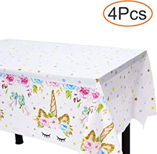 Unicorn Plastic Tablecloth - 4 Pack - Bigger Size - 51