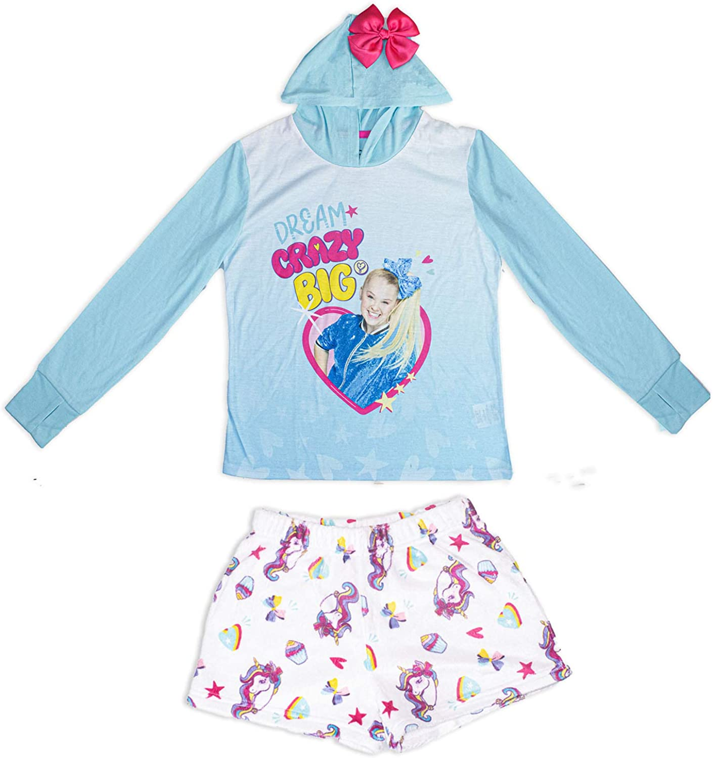 JoJo Siwa Long Sleeve Hooded Sleepwear Dorm with Shorts,100/% Polyester,Turqouise Size 4//5 to 10//12