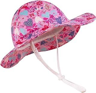 Juenier طفل الصيف شاطئ اللعب قبعة قابل للتعديل واسعة الحافة دلو قبعة مع حزام الذقن للأطفال البنات الصغار