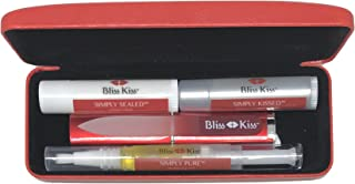 Bliss Kiss Nail Travel Kit - Great Gift Idea - Easy carry, to-go case to care for your nails, skin, and lips - Hydrating Nail and Cuticle Oil, Lotion Stick, Crystal Nail File, Lip Balm