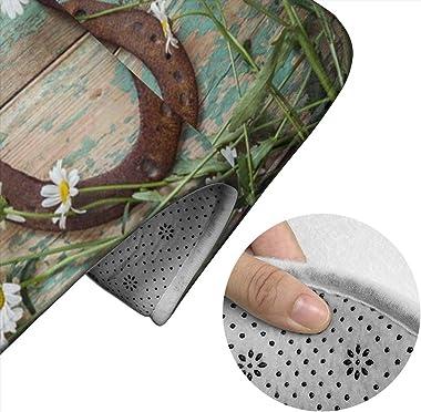 DPQZ Bathroom Rugs Sets 2 Piece Non Slip Daisies Rustic Rusty Horseshoe On Old Wood Shower Bath Mats U-Shape Contour Toilet R