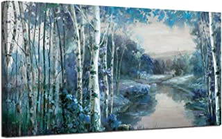 Canvas Wall Art Blue Landscape Painting Nature Forest Teal Mountain River Picture, Rustic Birch Tree One Panel 48