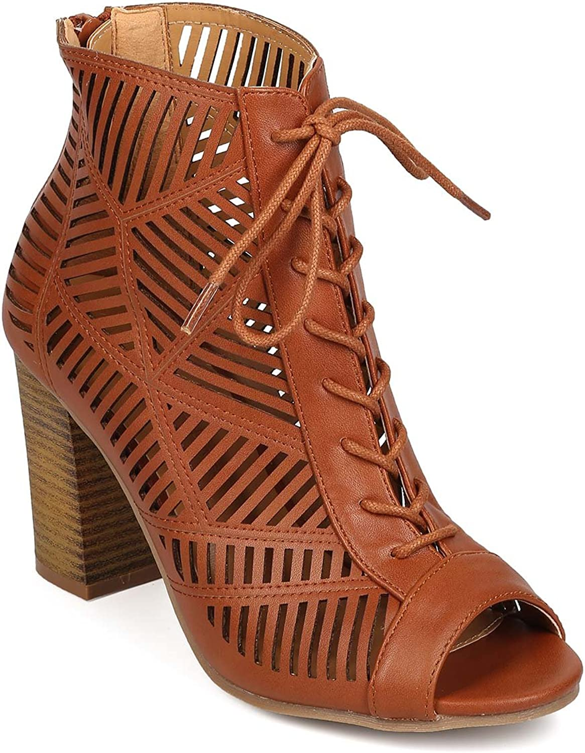 Wild Diva Women Leatherette Peep Toe Lace Up Hollow Out Block Heel Bootie EG90 - Whiskey
