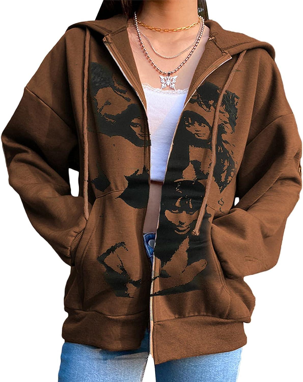 Women Casual Drawstring Hoodie Jacket Y2K Zipper Hooded Sweatshirt E-Girl 90s Streetwear Jacket with Pockets Oversized