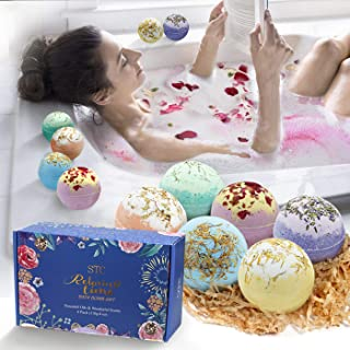 Bath Bombs Gift Set 6pcs X 4oz Fizzies with Dried Flower and Natural Essential Oils Fast Dissolve,Great for Spa and Bubble...