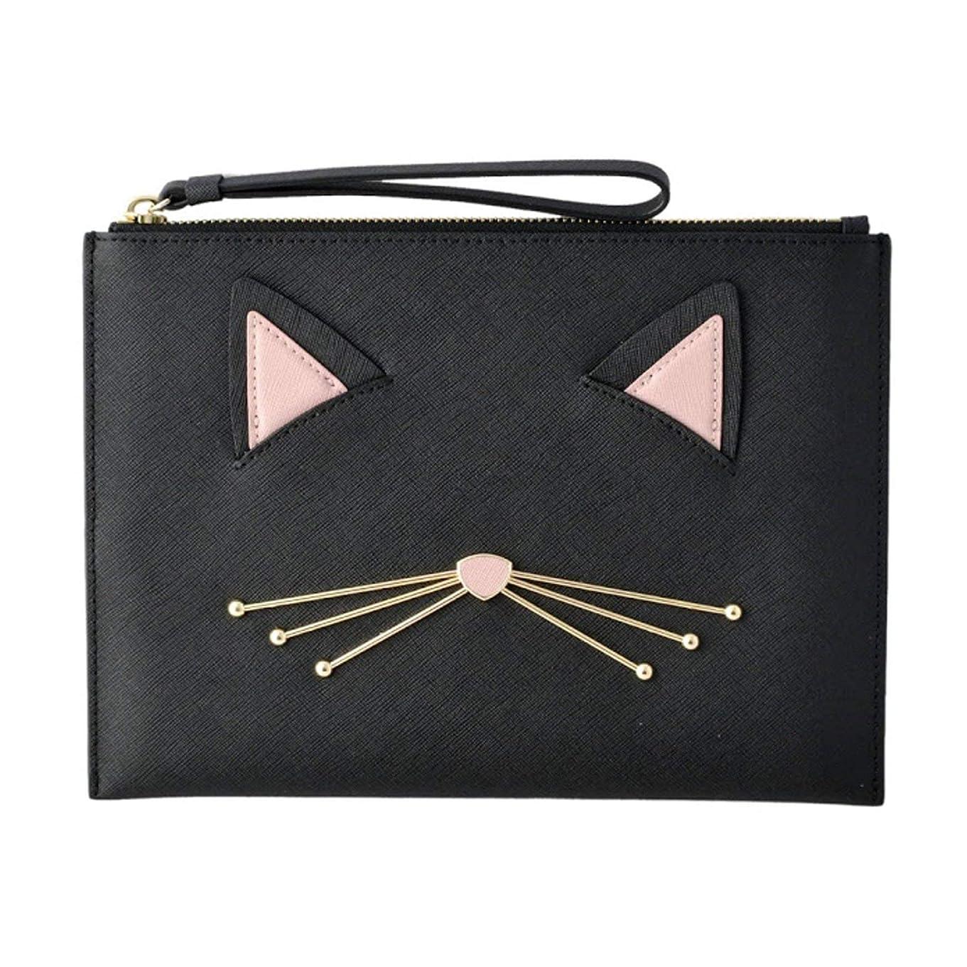 厳密に着服マットケイトスペード Kate Spade PWRU6627 098 猫モチーフ ハンドポーチ クラッチバッグ CAT'S MEOW cat medium bella pouch [並行輸入品]