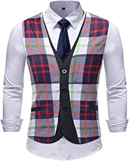 Men's Floral Printed Suit Dress Vest Waistcoat Men Modern Casual Men Checked Tuxedos Vest Business V-Neck