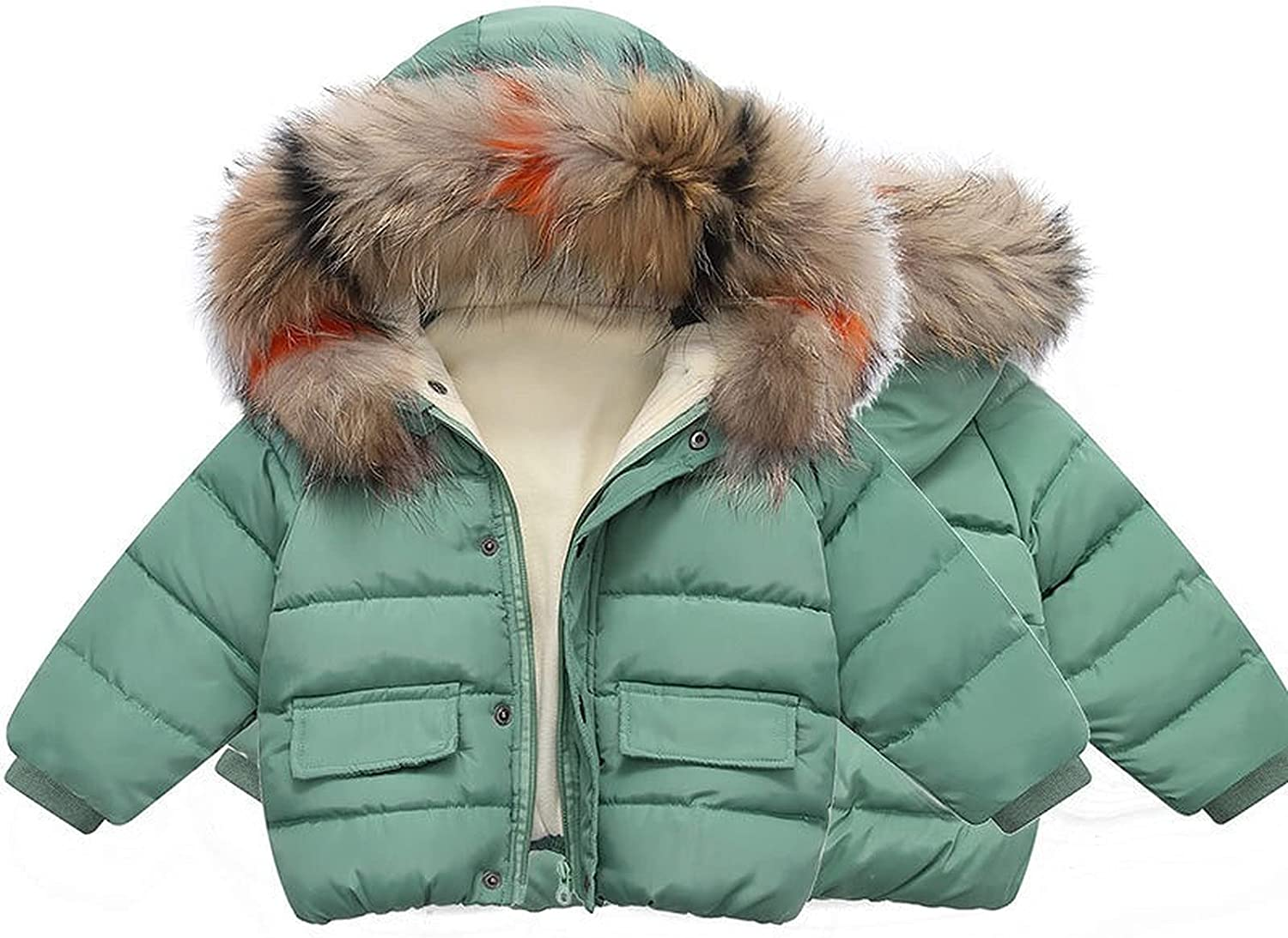 Boys and girls hooded down jacket jacket fashion thick warmth solid color children's winter fur collar cotton top 1-6T