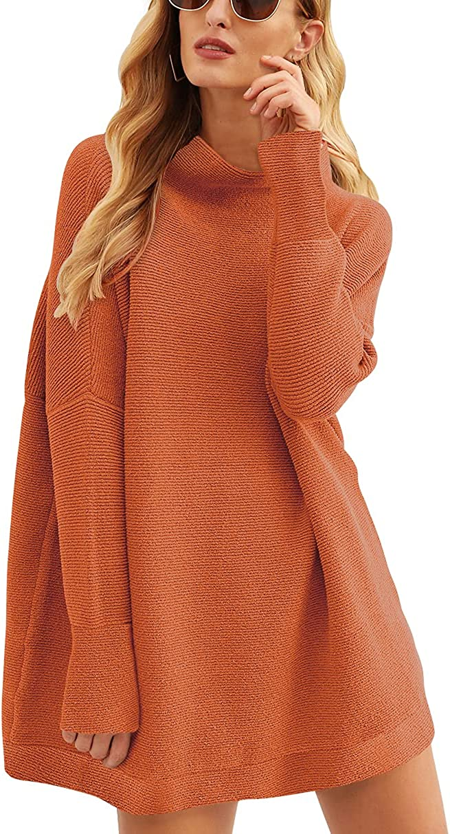 ANRABESS Women Casual Turtleneck 5 popular Sleeve Recommended Slouchy Oversize Batwing