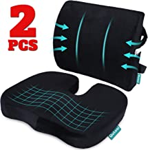 Coccyx Orthopedic Seat Cushion and Lumbar Support Pillow for Office Chair Memory Foam Car..