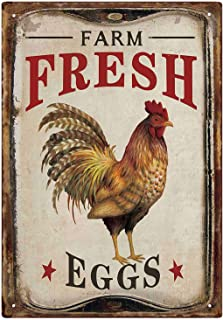 MMOUNT Farm Fresh Eggs Tin Signs Vintage Country Home Kitchen Wall Decor Sign 8x12Inch