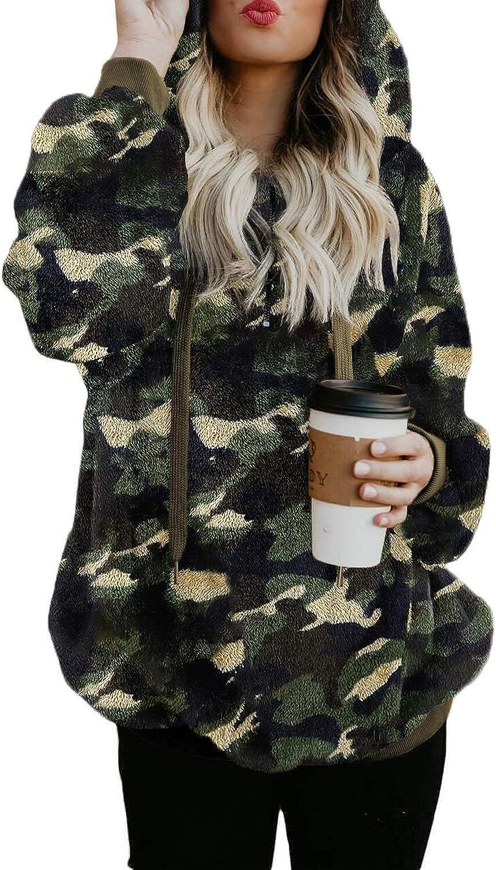 Acelitt Womens Oversized Fuzzy Fleece Sweatshirts with Pockets,S-XXL