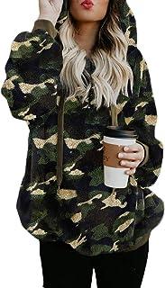 Dokotoo Womens Fuzzy Casual Loose Sweatshirt Hooded Pockets Outwear S-XXL