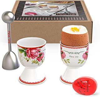 Egg Cups and Topper Cracker Set, Soft Hard Boiled Egg Cooker Tool, Includes 2 Eggs Holder With German Rose Design, 1 Egg Timer and 1 SS Egg Topper