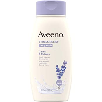 Aveeno Stress Relief Body Wash with Soothing Oat, Lavender, Chamomile & Ylang-Ylang Essential Oils, Dye- & Soap-Free Calming Body Wash for Shower Gentle on Sensitive Skin, 18 fl. oz