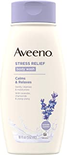 Aveeno Stress Relief Body Wash with Soothing Oat, Lavender, Chamomile & Ylang-Ylang Essential Oils, Hypoallergenic, Dye-Free & Soap-Free Calming Body Wash gentle on Sensitive Skin, 18 fl. oz