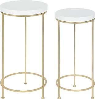 Kate and Laurel Espada Metal and Wood Nesting Tables, Gold