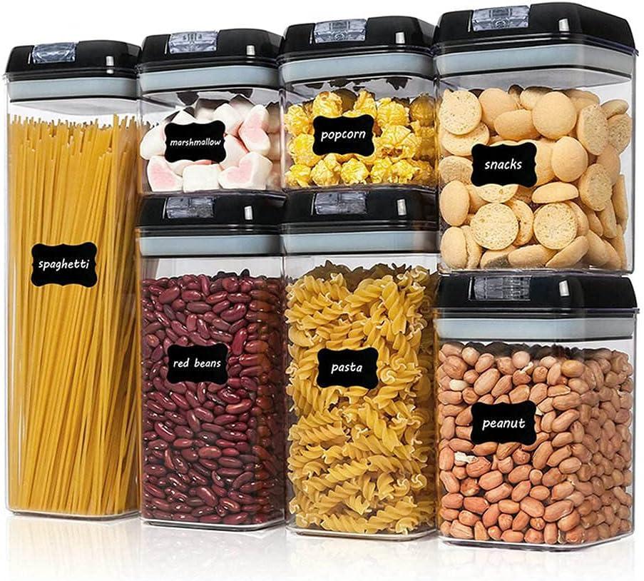 NEW -Premium Quality, Airtight, Leak Proof, CLEAN, BPA Free, Child Friendly, Shatter Proof, Pantry Food Storage - FRESH BOX by Milexi (7pc black)