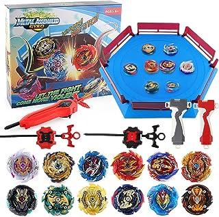 JIMI Bey Battling Top Stadium Blade Battle Set، 12 Burst Spinning Tops 3 Launchers Grip 1 Arena Combat Game، اسباب بازی هدیه برای بچه های پسران سنین 6