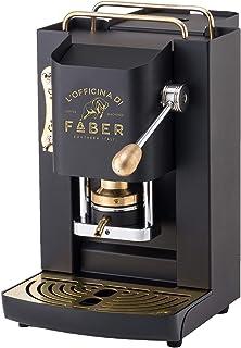 Faber Pro Deluxe Machine à café avec finition en laiton à dosettes en papier Ese 44 mm (noir)