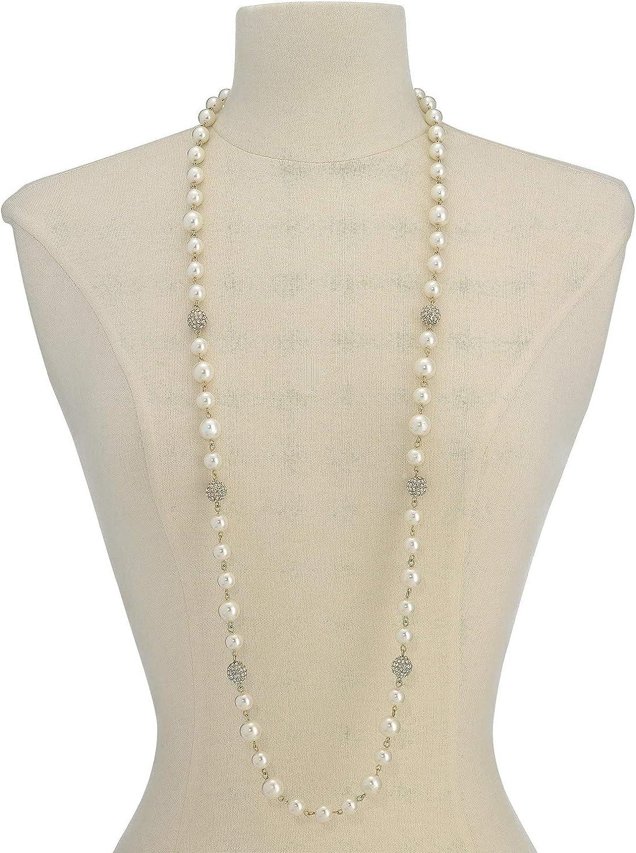 Charter Club Gold-Tone Pavé Bead & Imitation Pearl Strand Necklace, 42