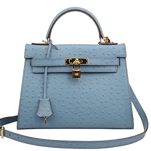 539c405e0b4 Ainifeel Women s Padlock Purse Ostrich Embossed Genuine Leather Shoulder  Handbag Hobo Bag