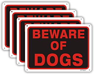 "Beware of Dog Signs for Fence Dog Metal Warning Sign (4 Pack) 10""x7"" 0.40 Rust Free Aluminum Reflective Sign Pre-Drilled Holes for Easy Mounting UV Coating Weather Resistant for Outdoor Use"
