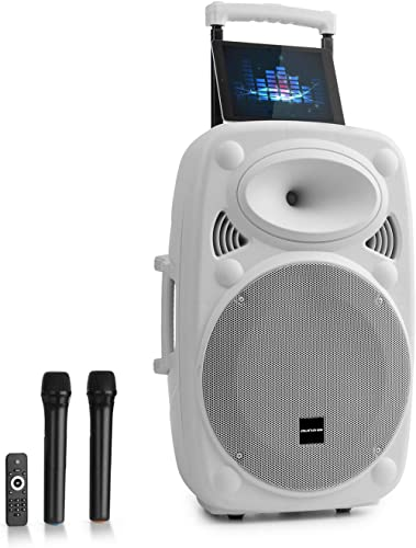 AUNA Pro Streetstar - Enceinte Bluetooth Mobile, Karaoké, Subwoofer, Micro UHF sans Fil, Solide boîtier en ABS, Poign...