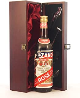 Martini Vernouth Rose 1970's in a silk lined wooden box with four wine accessories, 1 x 750ml