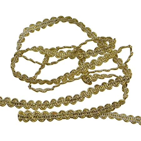 Camel Gold Veranda 1 Yard = 91 cm Meterware Champaigne DecoPro 0038V Dekokordel mit N/ählippe Antik Gold Schwarz 10 mm