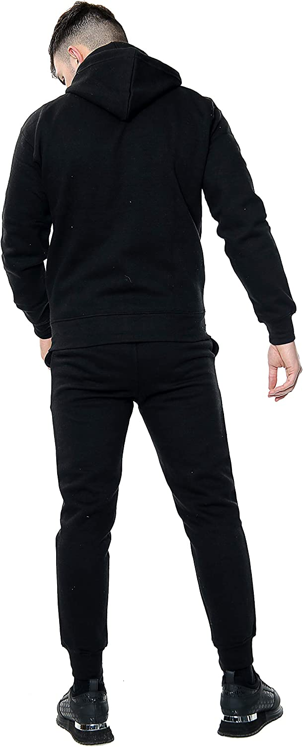 NY Deluxe Edition Mens Fleece Hooded TOP /& Bottom Gym Jogger Plain Tracksuit Full Set S to XL