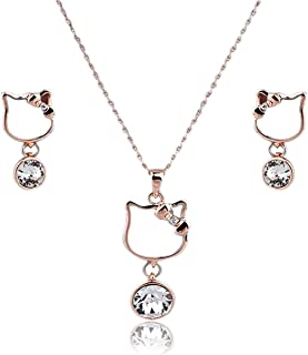 Hello Kitty Jewelry Set for Women/Teens - Teenage Character Jewelry with Shiny Crystals - Christmas, Birthday Gift - Necklace and Earrings