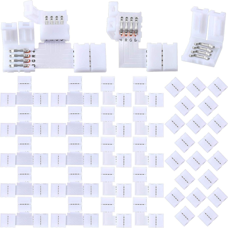 Mudder High quality new 40 Pieces LED Strip Connectors Lights 4-Pin RGB Lig San Francisco Mall